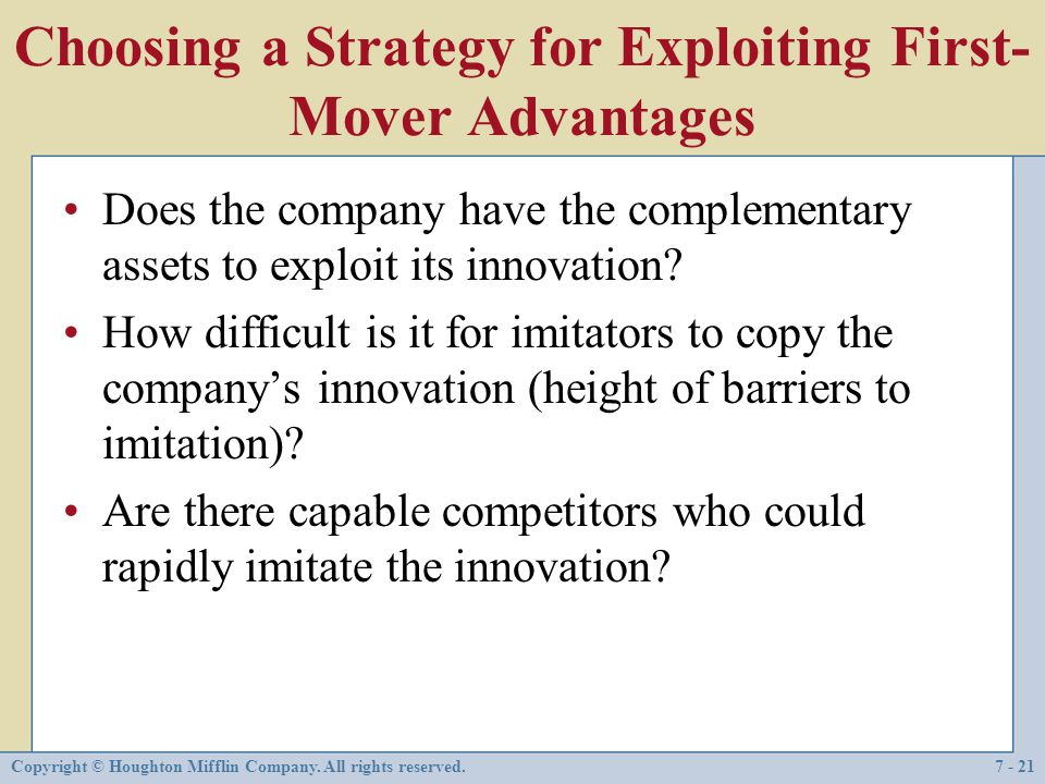 Choosing a Strategy for Exploiting First-Mover Advantages