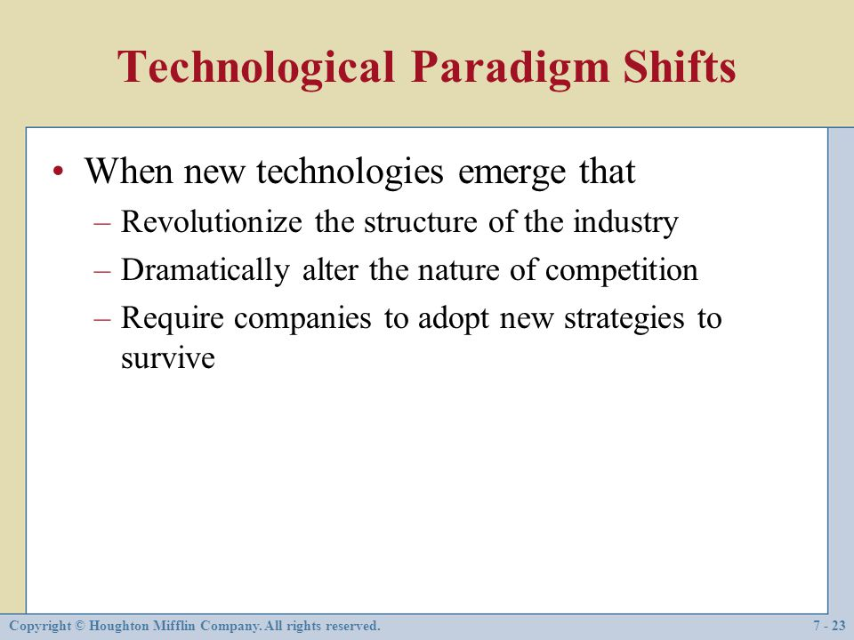 Technological Paradigm Shifts