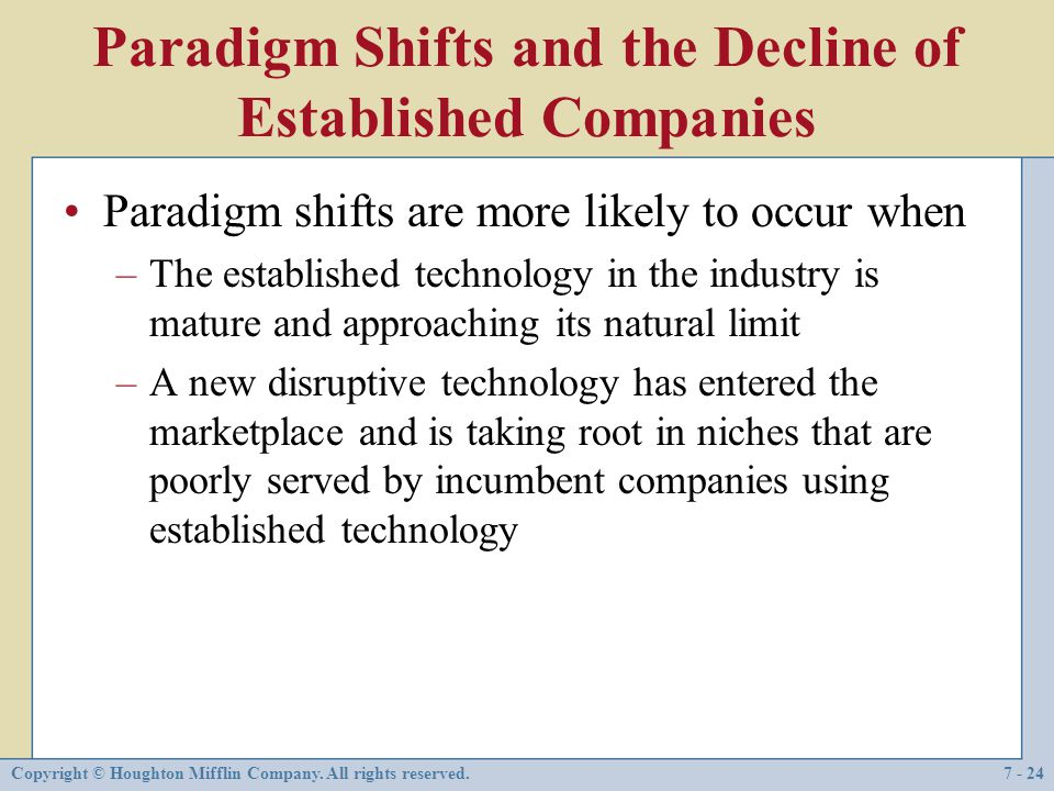 Paradigm Shifts and the Decline of Established Companies