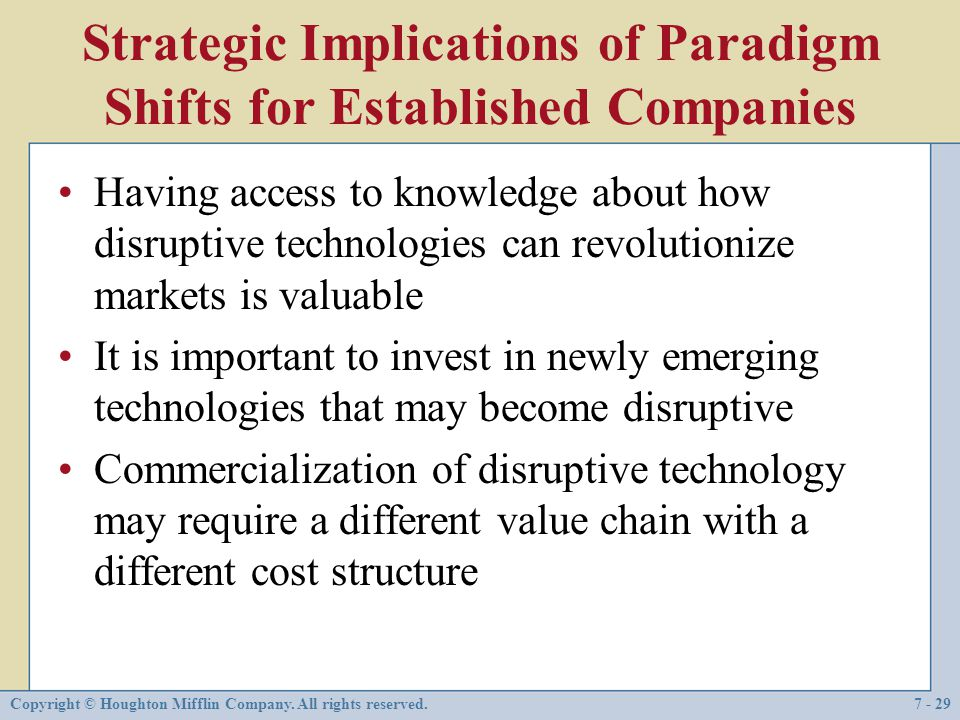 Strategic Implications of Paradigm Shifts for Established Companies