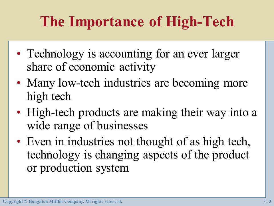 The Importance of High-Tech