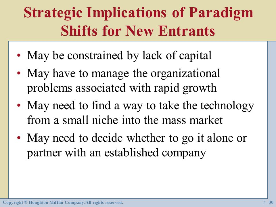 Strategic Implications of Paradigm Shifts for New Entrants