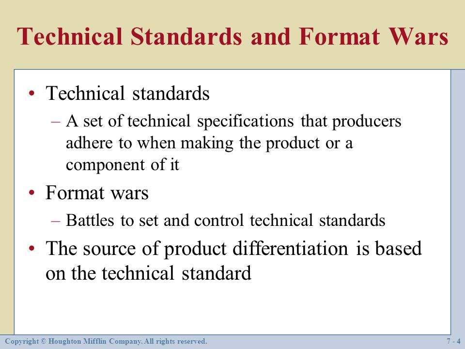 Technical Standards and Format Wars