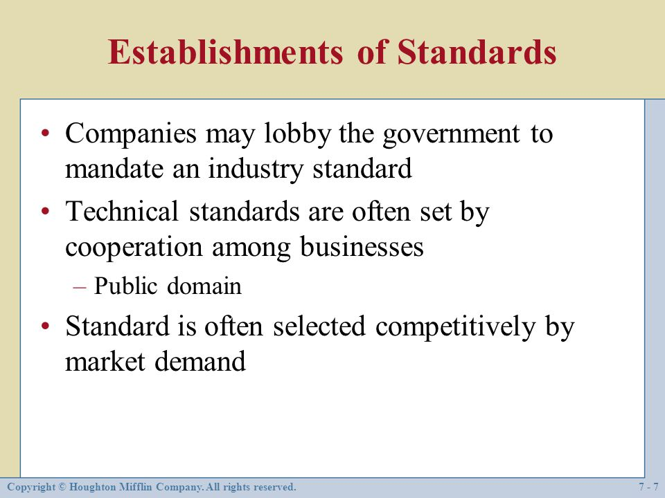 Establishments of Standards