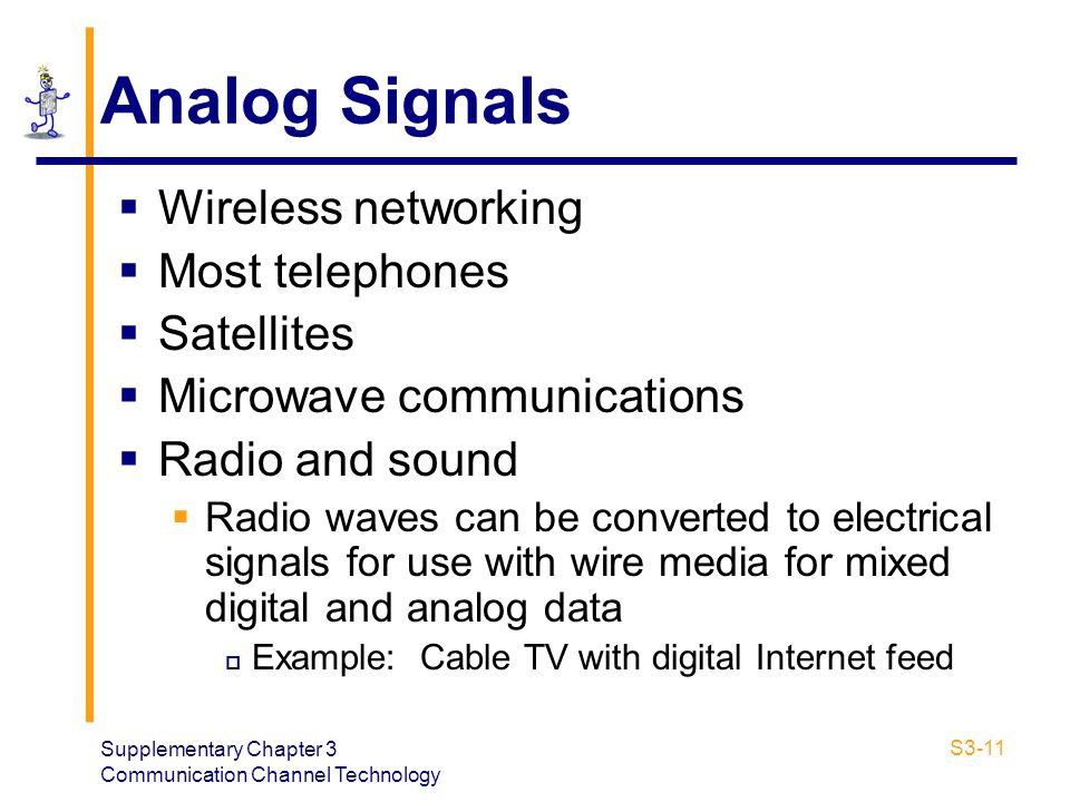 Analog Signals Wireless networking Most telephones Satellites