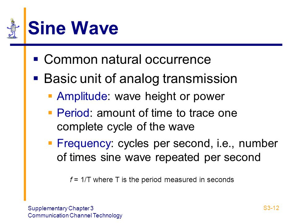 Sine Wave Common natural occurrence Basic unit of analog transmission