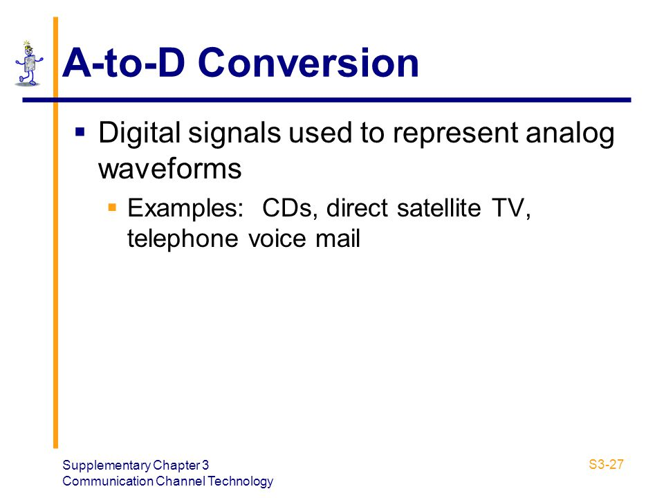 A-to-D Conversion Digital signals used to represent analog waveforms