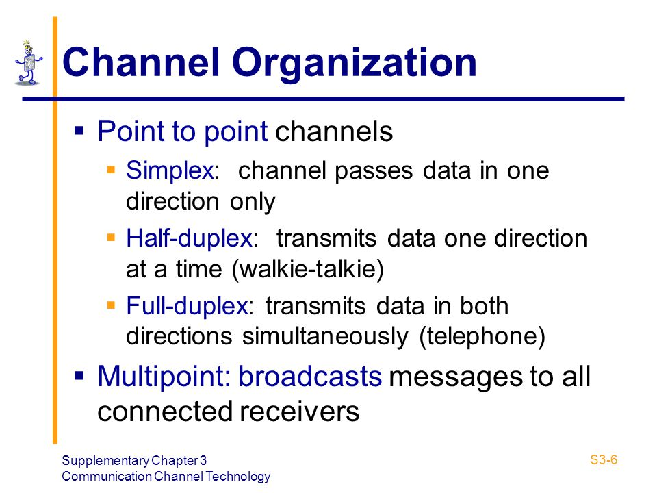 Channel Organization Point to point channels