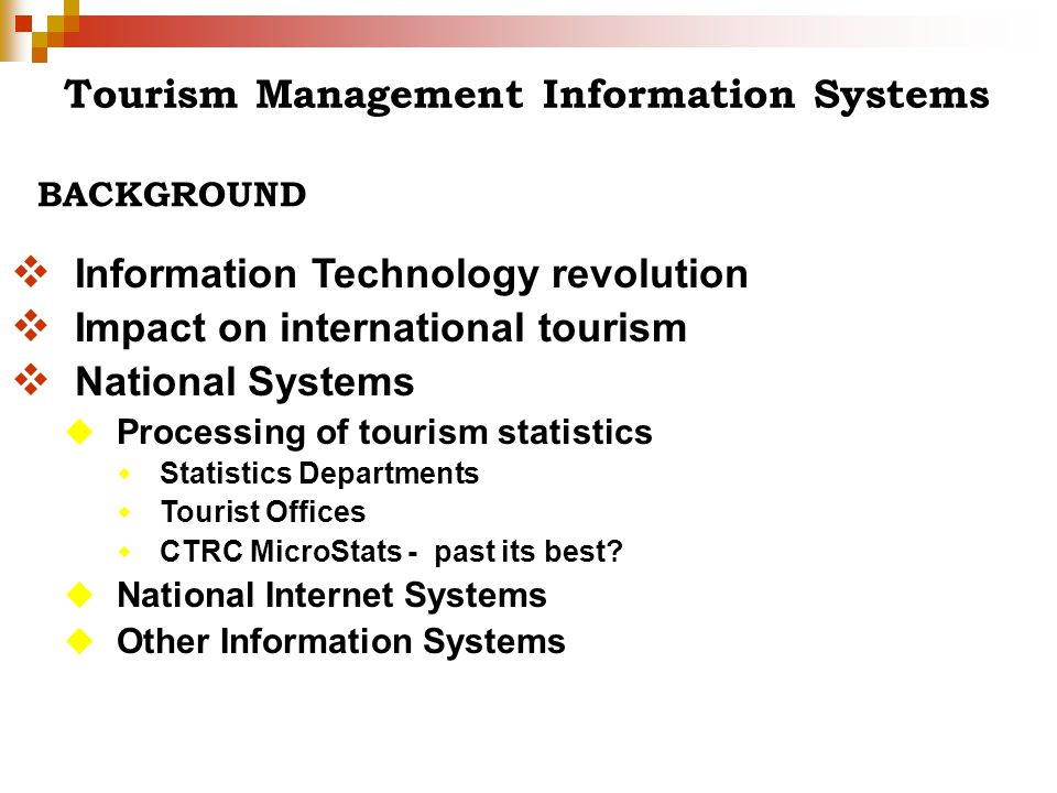 Tourism Management Information Systems