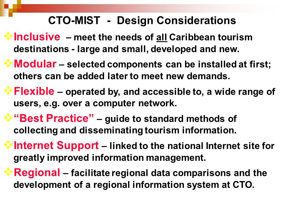 CTO-MIST - Design Considerations