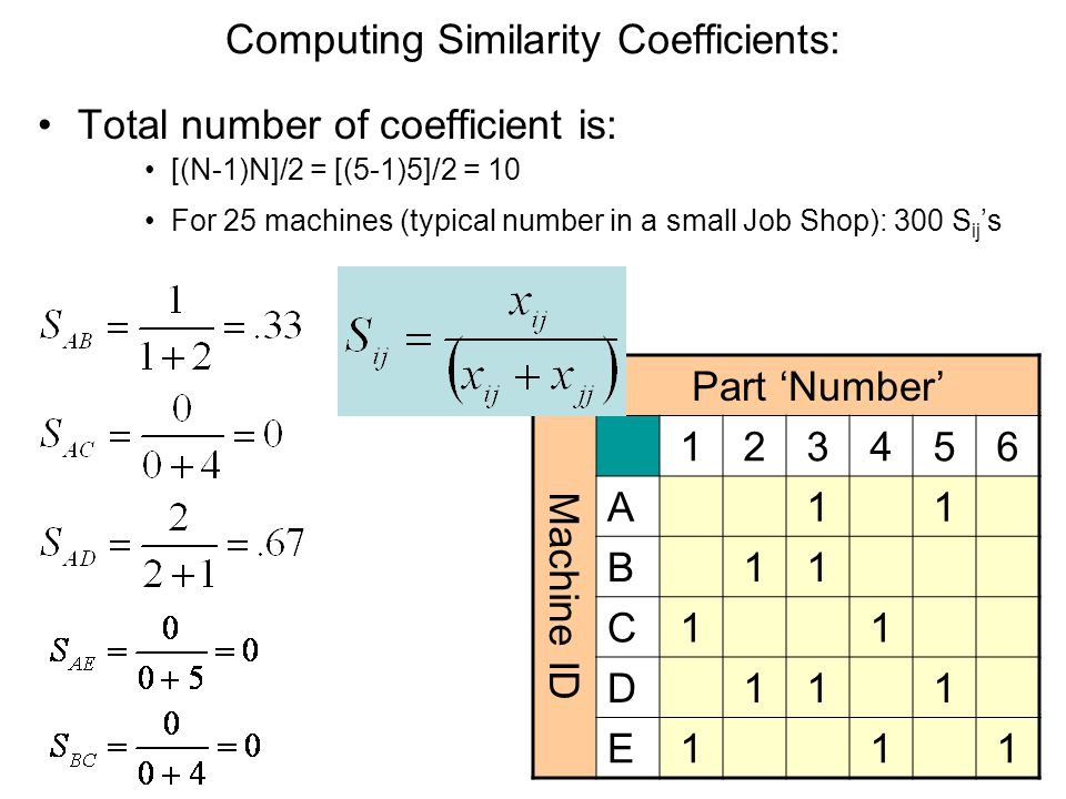 Computing Similarity Coefficients: