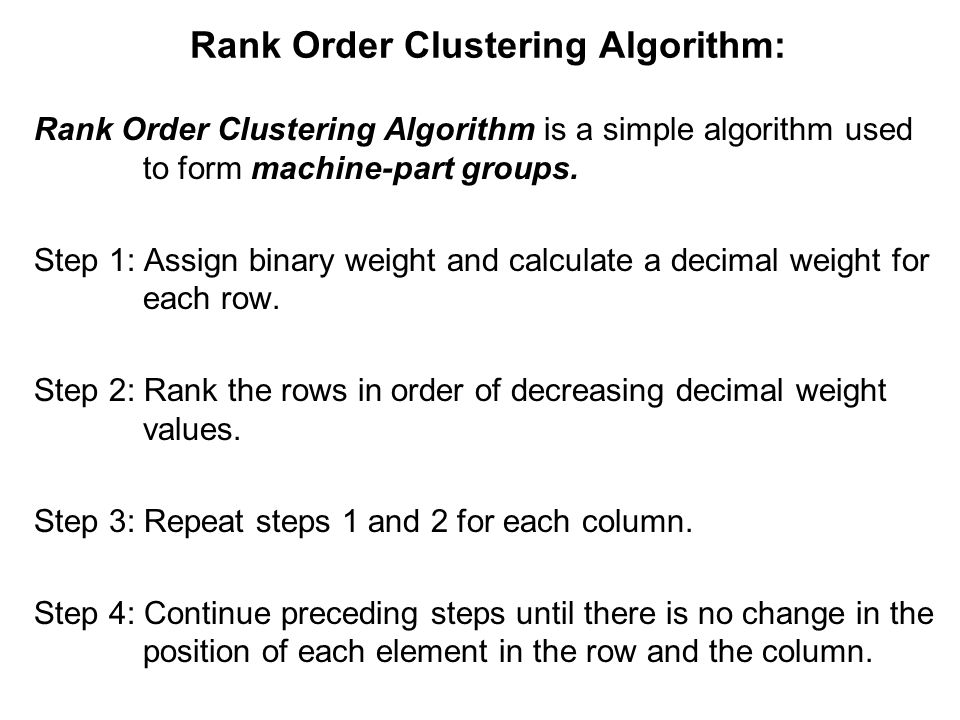 Rank Order Clustering Algorithm: