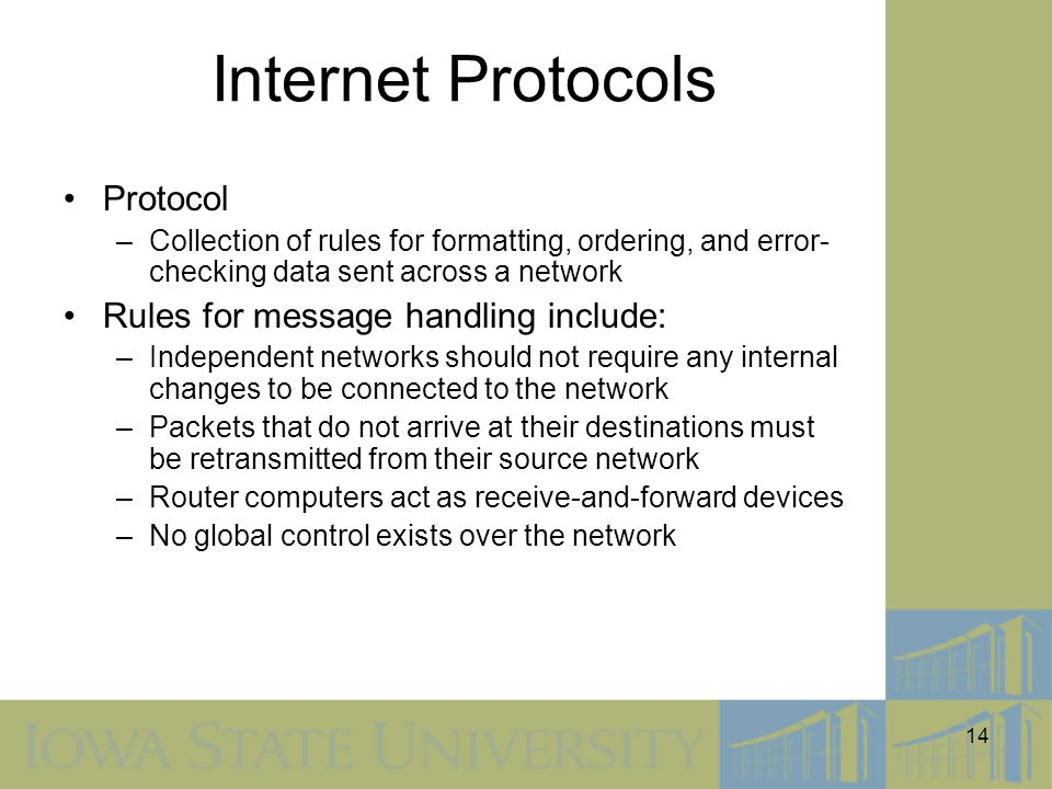 Internet Protocols Protocol Rules for message handling include: