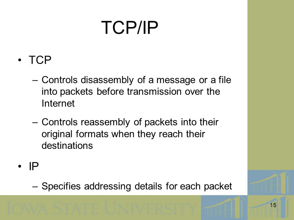 TCP/IP TCP. Controls disassembly of a message or a file into packets before transmission over the Internet.