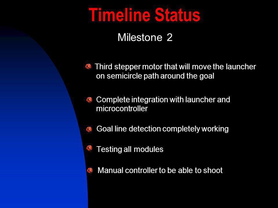 Timeline Status Milestone 2. Third stepper motor that will move the launcher on semicircle path around the goal.
