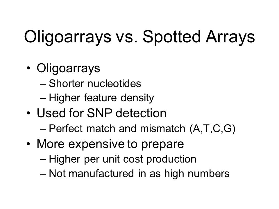 Oligoarrays vs. Spotted Arrays