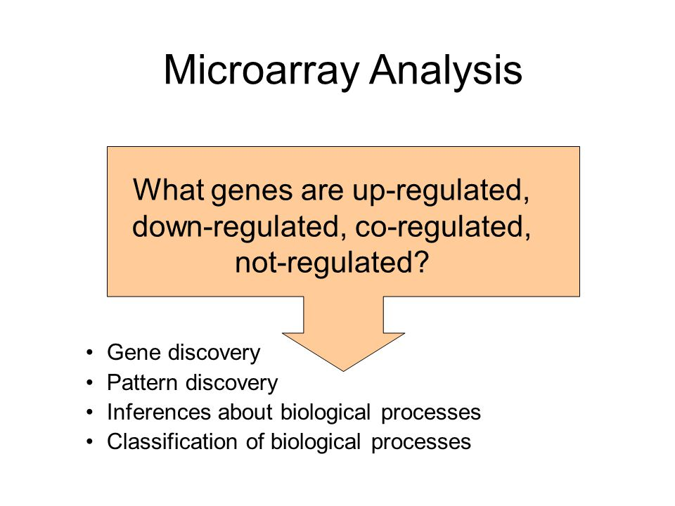 Microarray Analysis What genes are up-regulated, down-regulated, co-regulated, not-regulated Gene discovery.