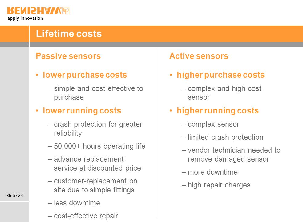 Lifetime costs Passive sensors Active sensors lower purchase costs