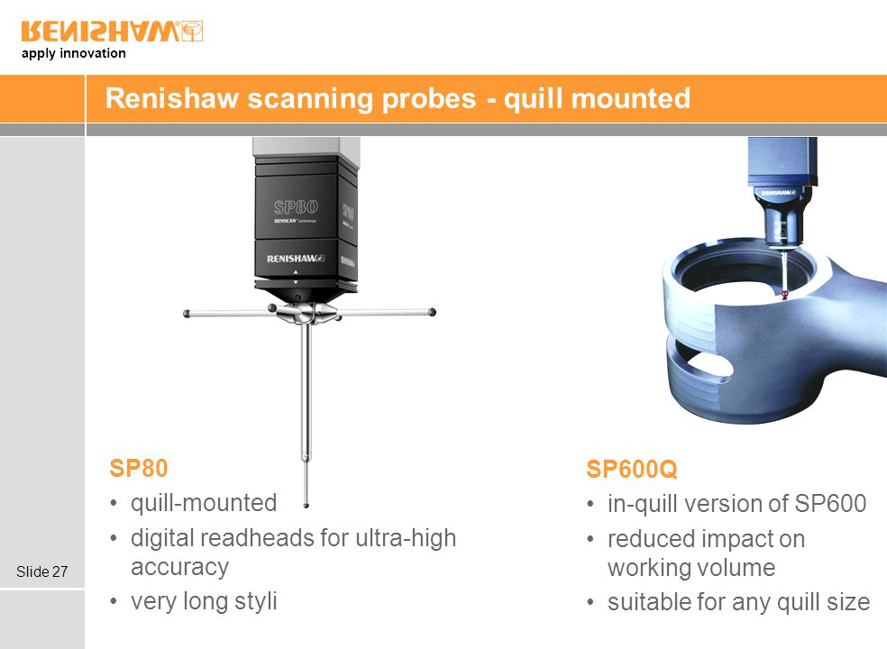 Renishaw scanning probes - quill mounted
