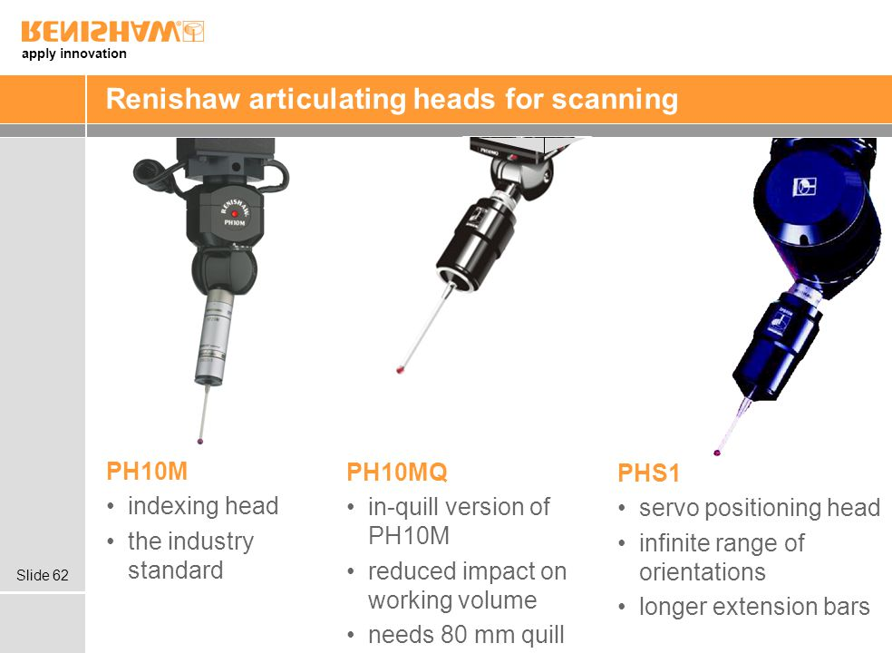 Renishaw articulating heads for scanning
