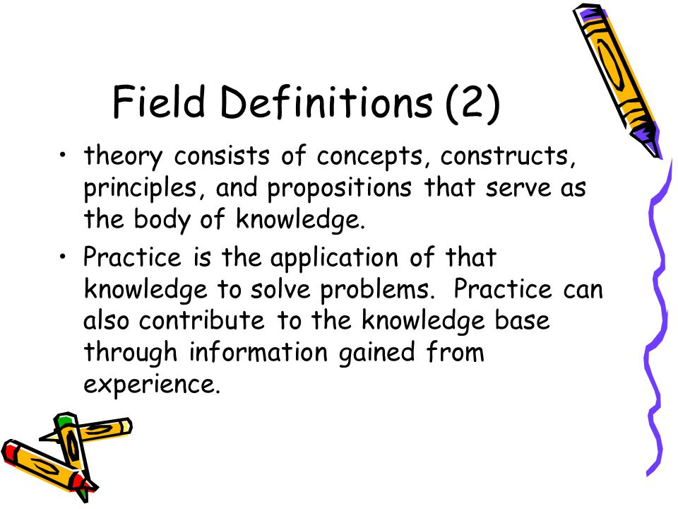 Field Definitions (2) theory consists of concepts, constructs, principles, and propositions that serve as the body of knowledge.