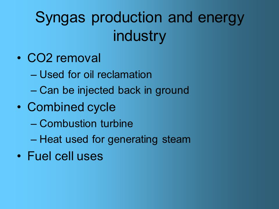 Syngas production and energy industry