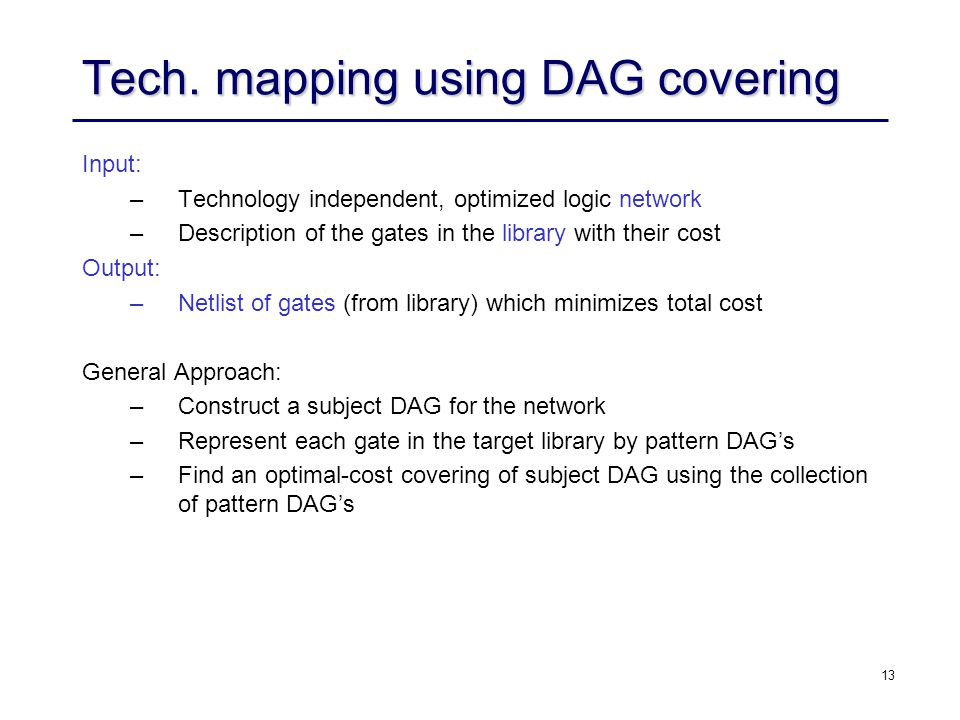 Tech. mapping using DAG covering
