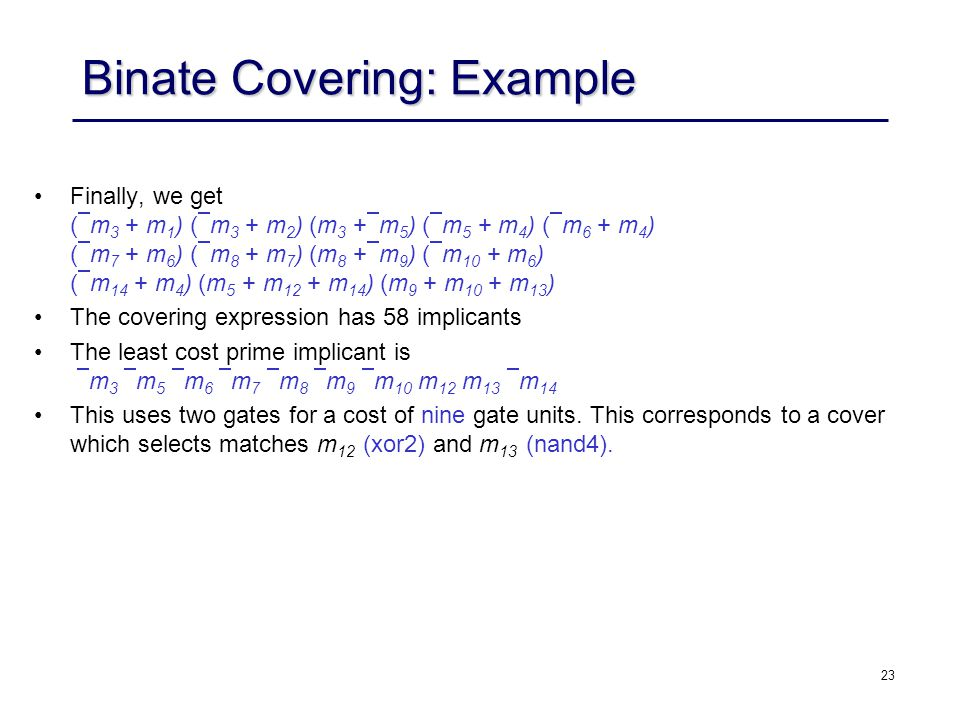 Binate Covering: Example