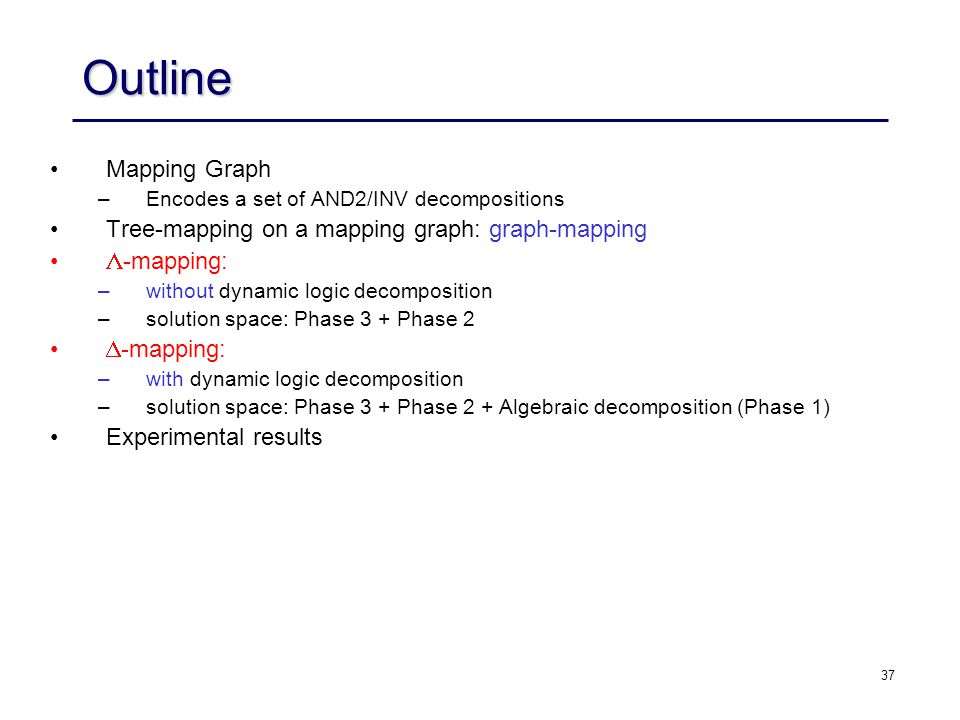 Outline Mapping Graph Tree-mapping on a mapping graph: graph-mapping