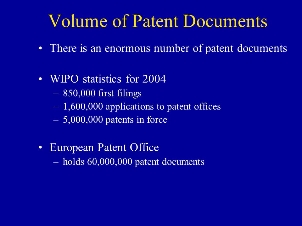 Volume of Patent Documents