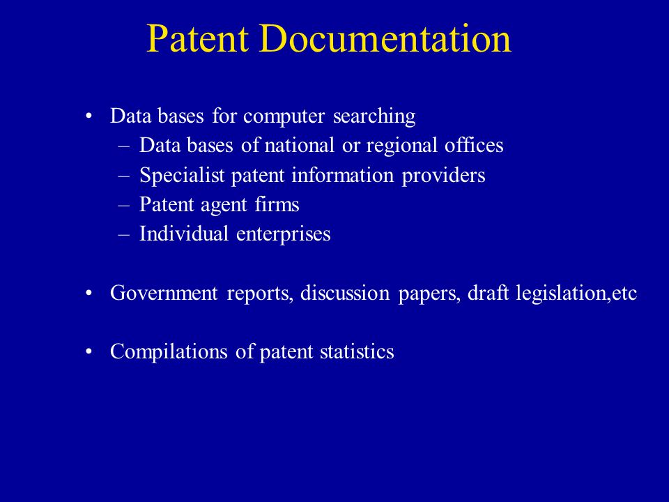 Patent Documentation Data bases for computer searching