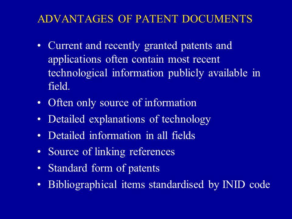 ADVANTAGES OF PATENT DOCUMENTS