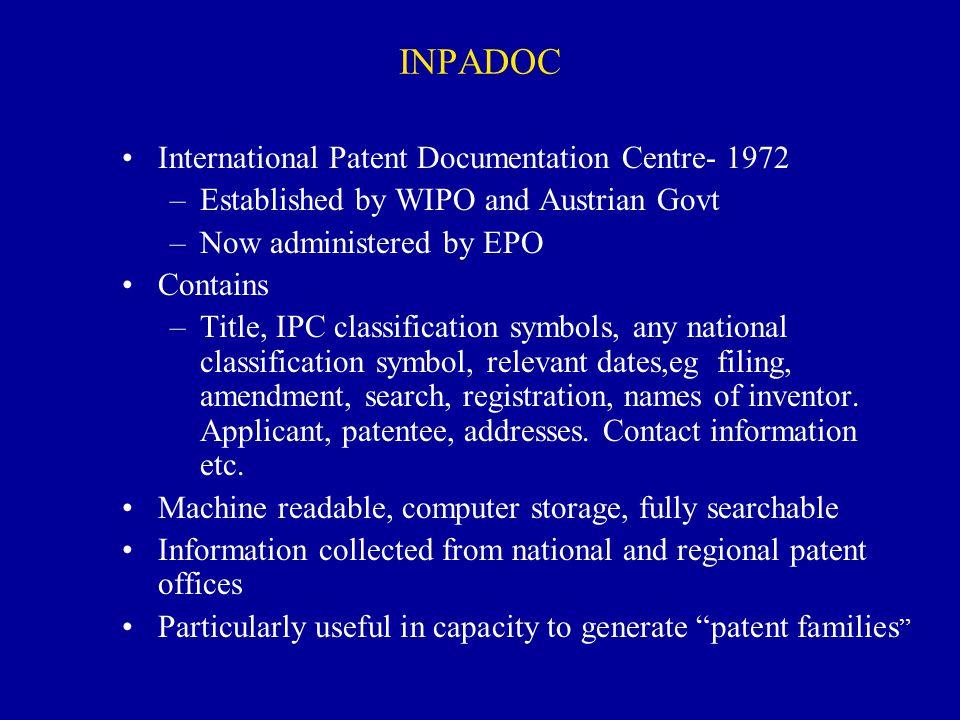 INPADOC International Patent Documentation Centre- 1972