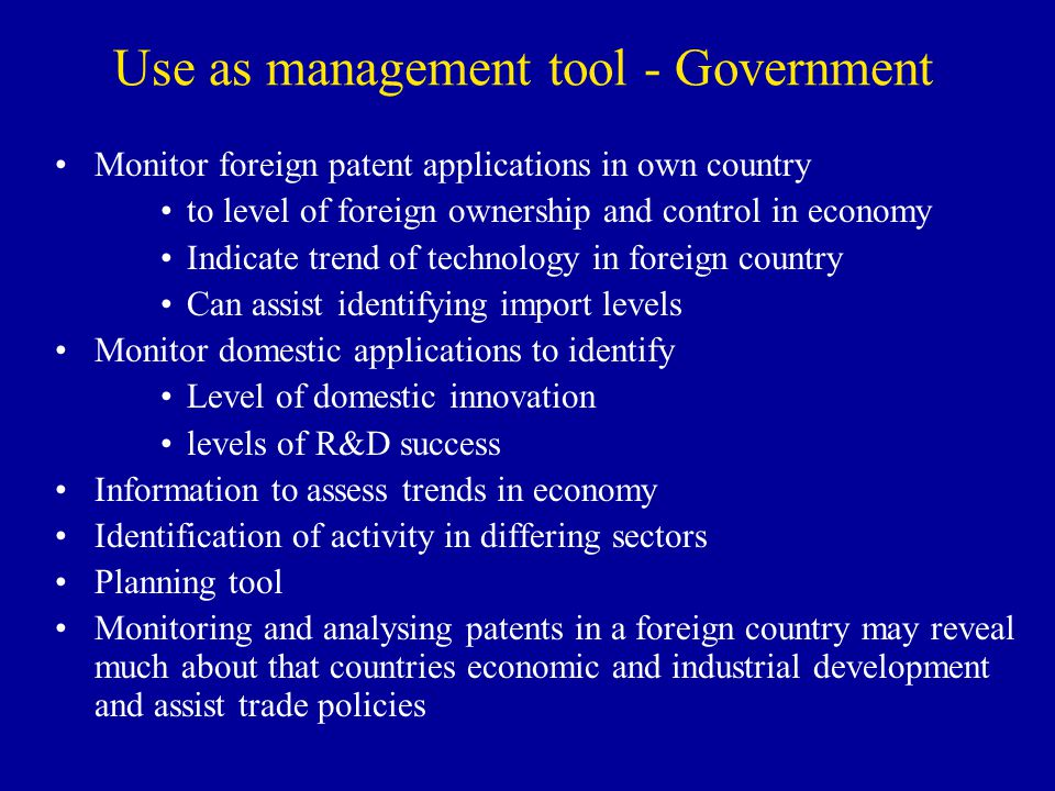 Use as management tool - Government
