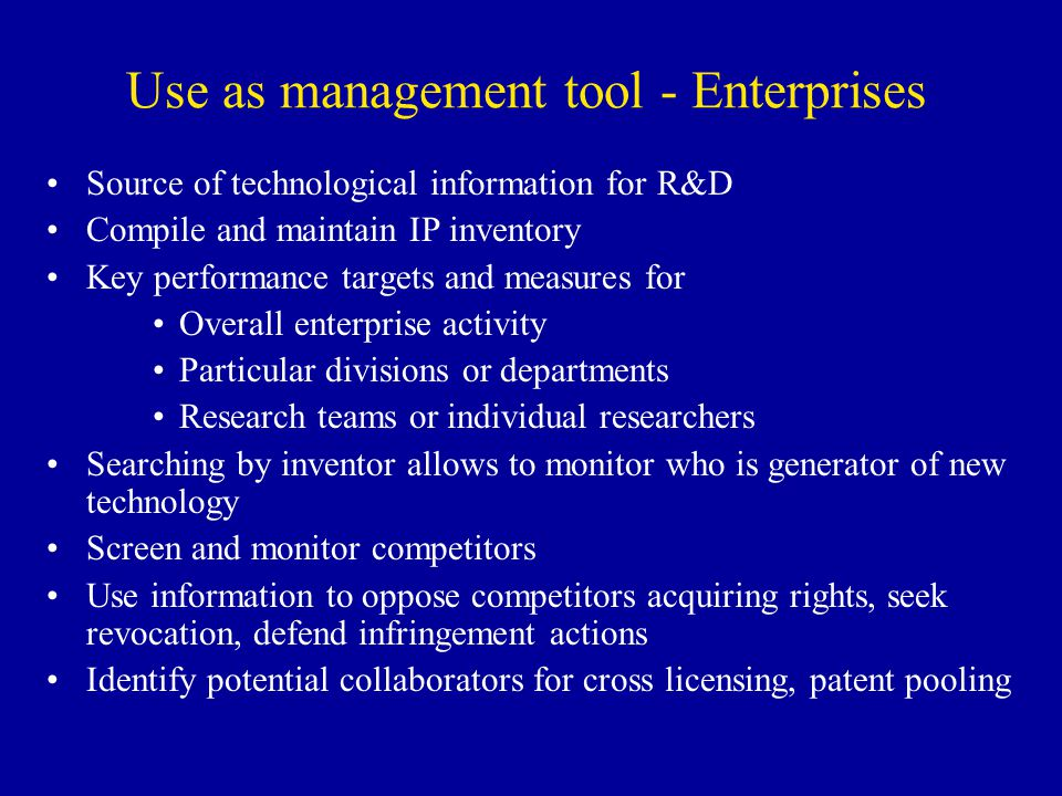 Use as management tool - Enterprises