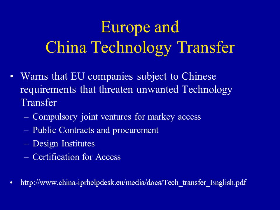 Europe and China Technology Transfer