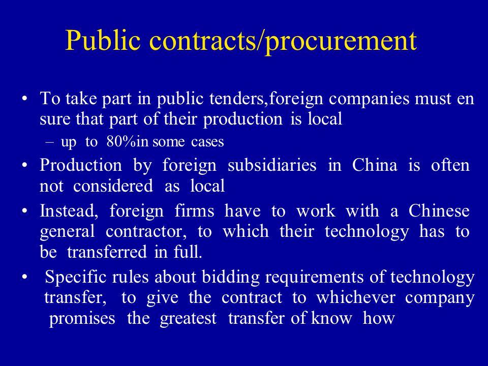 Public contracts/procurement