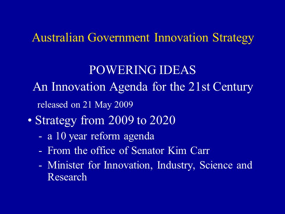Australian Government Innovation Strategy