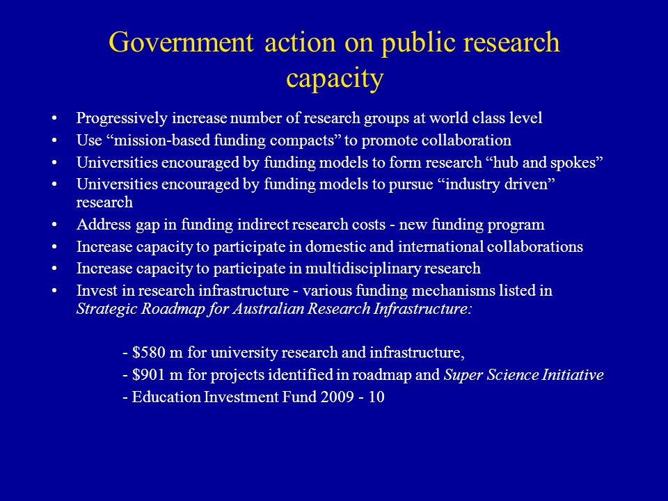 Government action on public research capacity