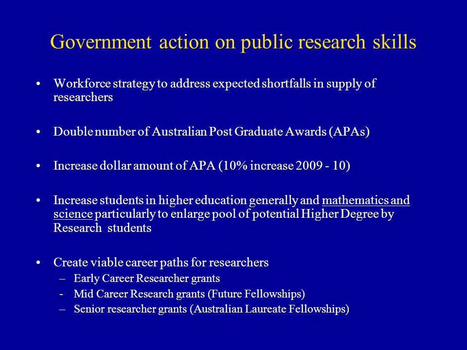 Government action on public research skills