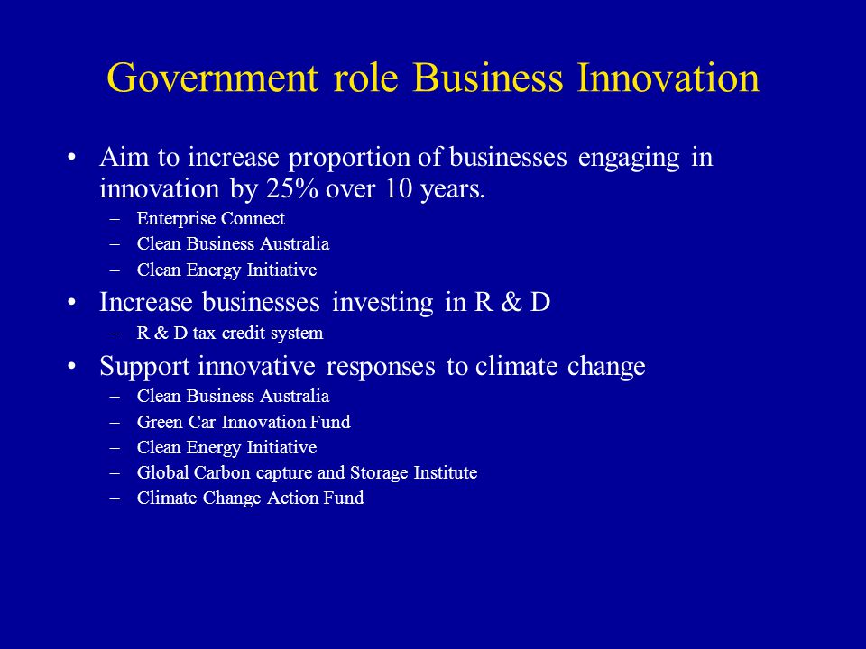 Government role Business Innovation