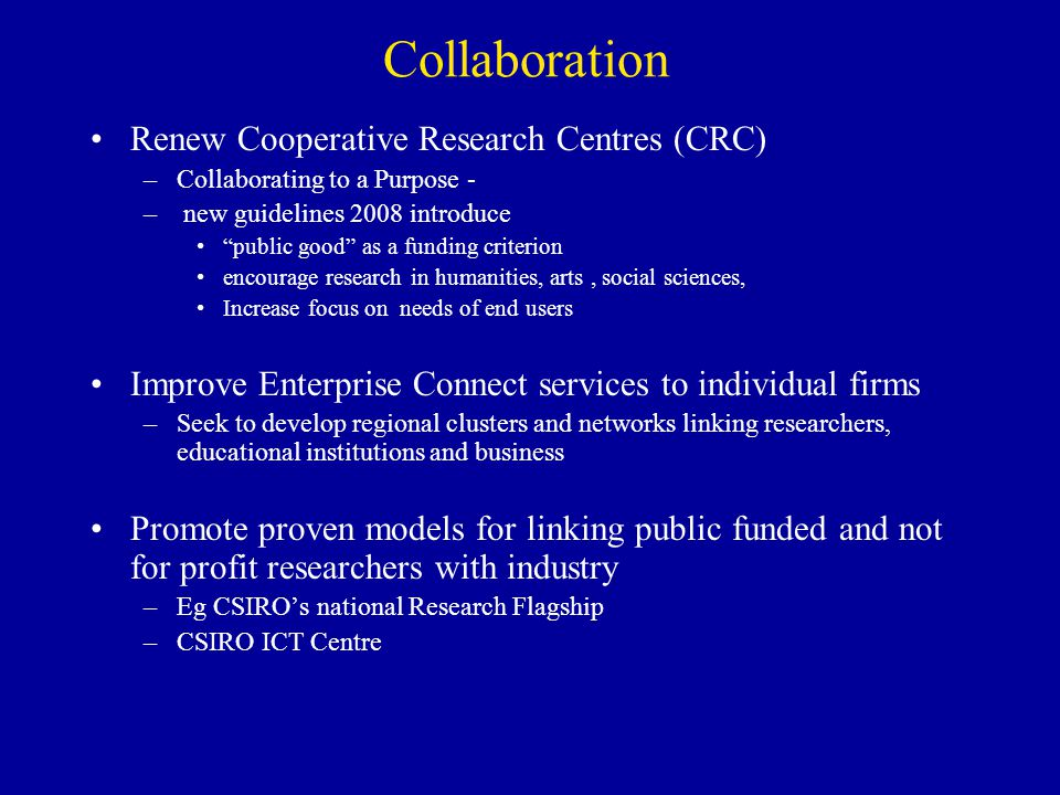 Collaboration Renew Cooperative Research Centres (CRC)