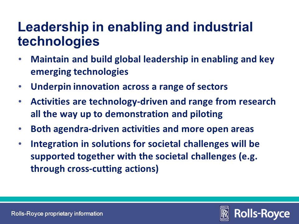 Leadership in enabling and industrial technologies