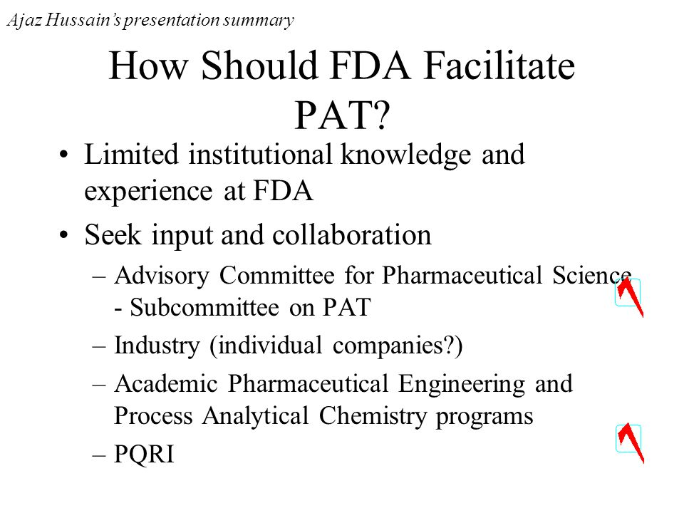 How Should FDA Facilitate PAT