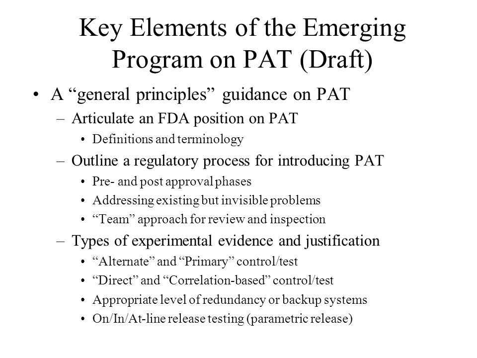 Key Elements of the Emerging Program on PAT (Draft)