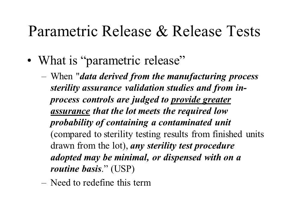 Parametric Release & Release Tests
