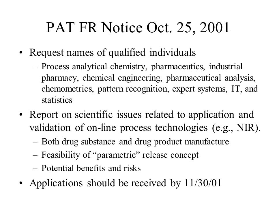 PAT FR Notice Oct. 25, 2001 Request names of qualified individuals