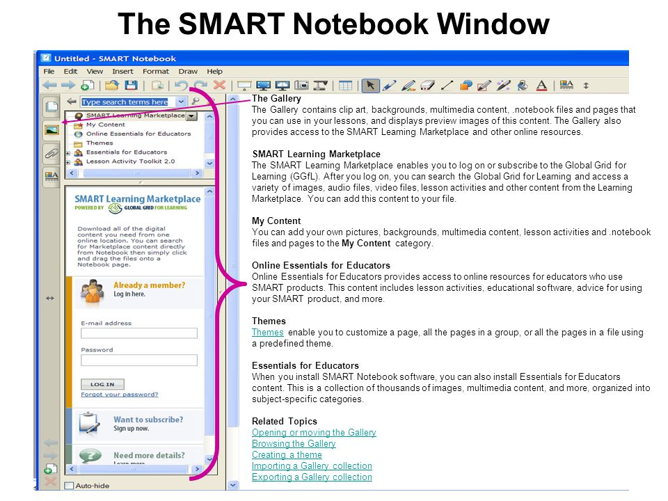The SMART Notebook Window