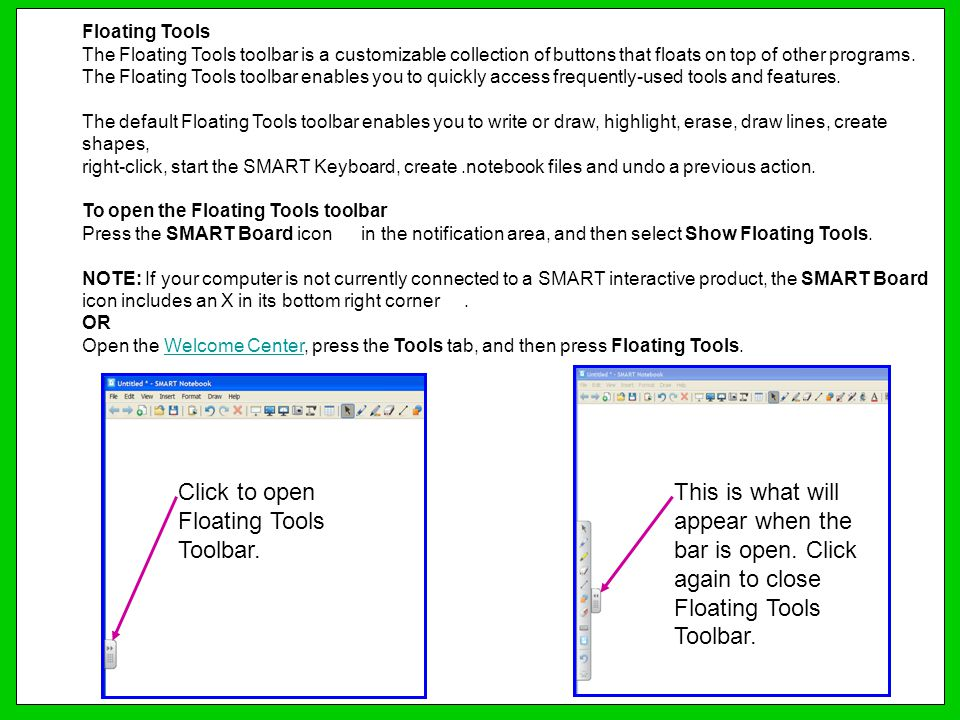 Click to open Floating Tools Toolbar.