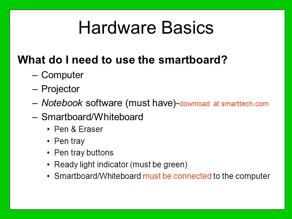 Hardware Basics What do I need to use the smartboard Computer
